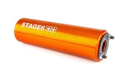 Stage6 StreetRace chrome uitlaat orange onderlangs Derbi Senda/AM6
