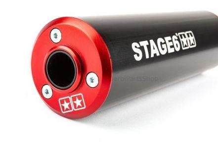 Stage6 StreetRace uitlaat rood/zwart onderlangs Derbi Senda/AM6